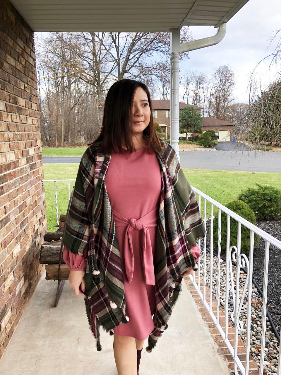 Pink Tie Waist Dress + Plaid Ruana 15