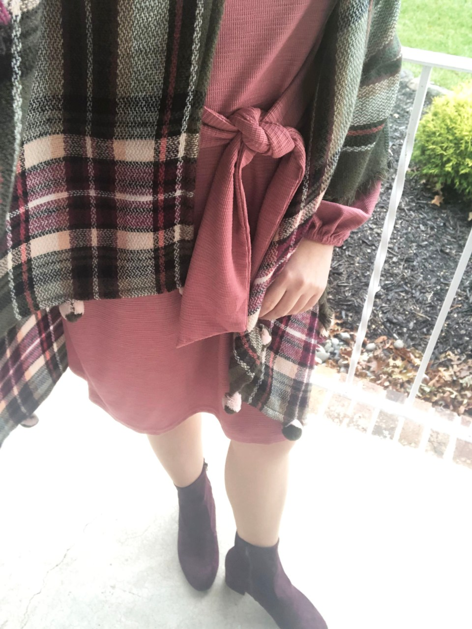 Pink Tie Waist Dress + Plaid Ruana 17