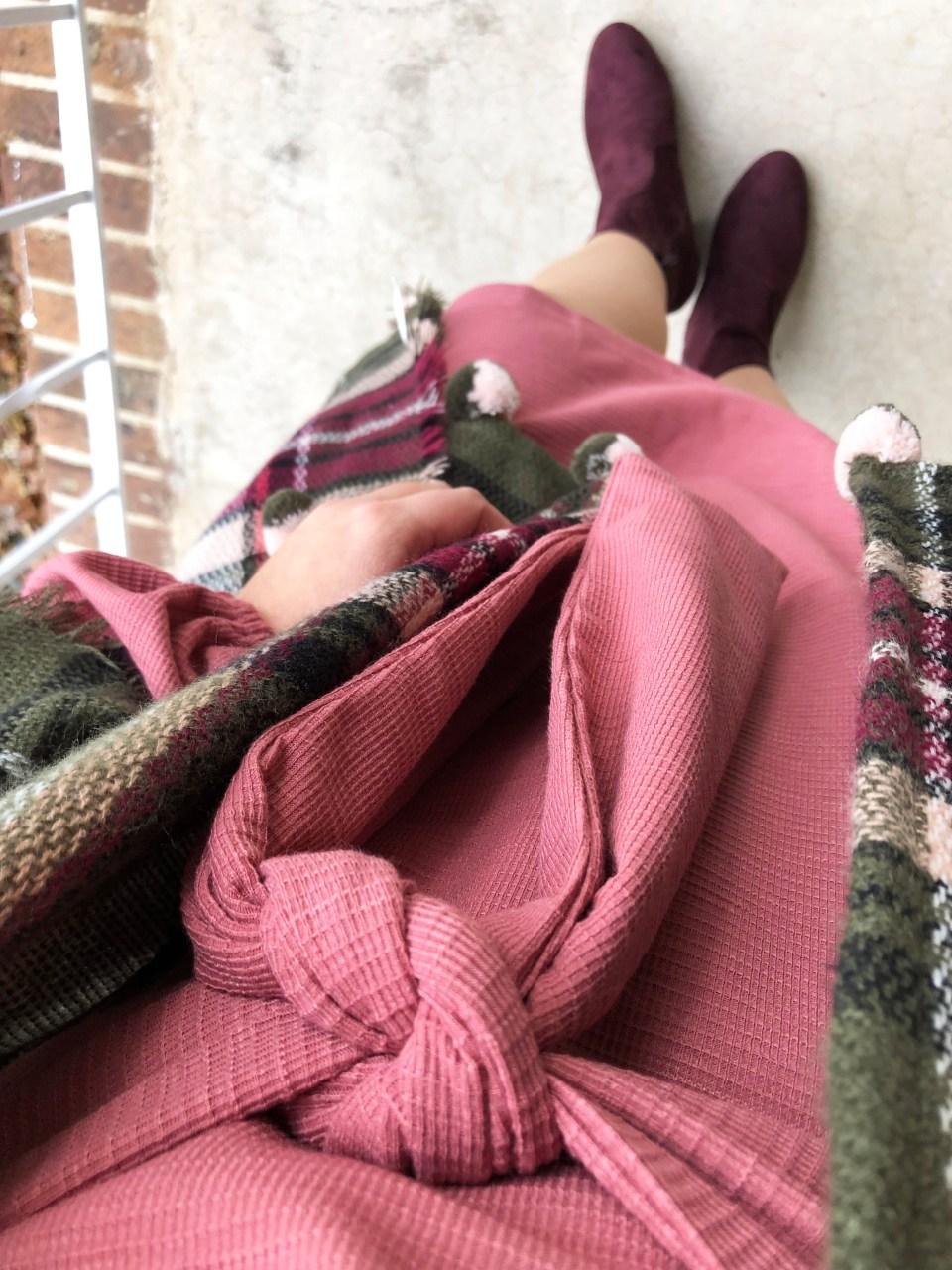 Pink Tie Waist Dress + Plaid Ruana 20