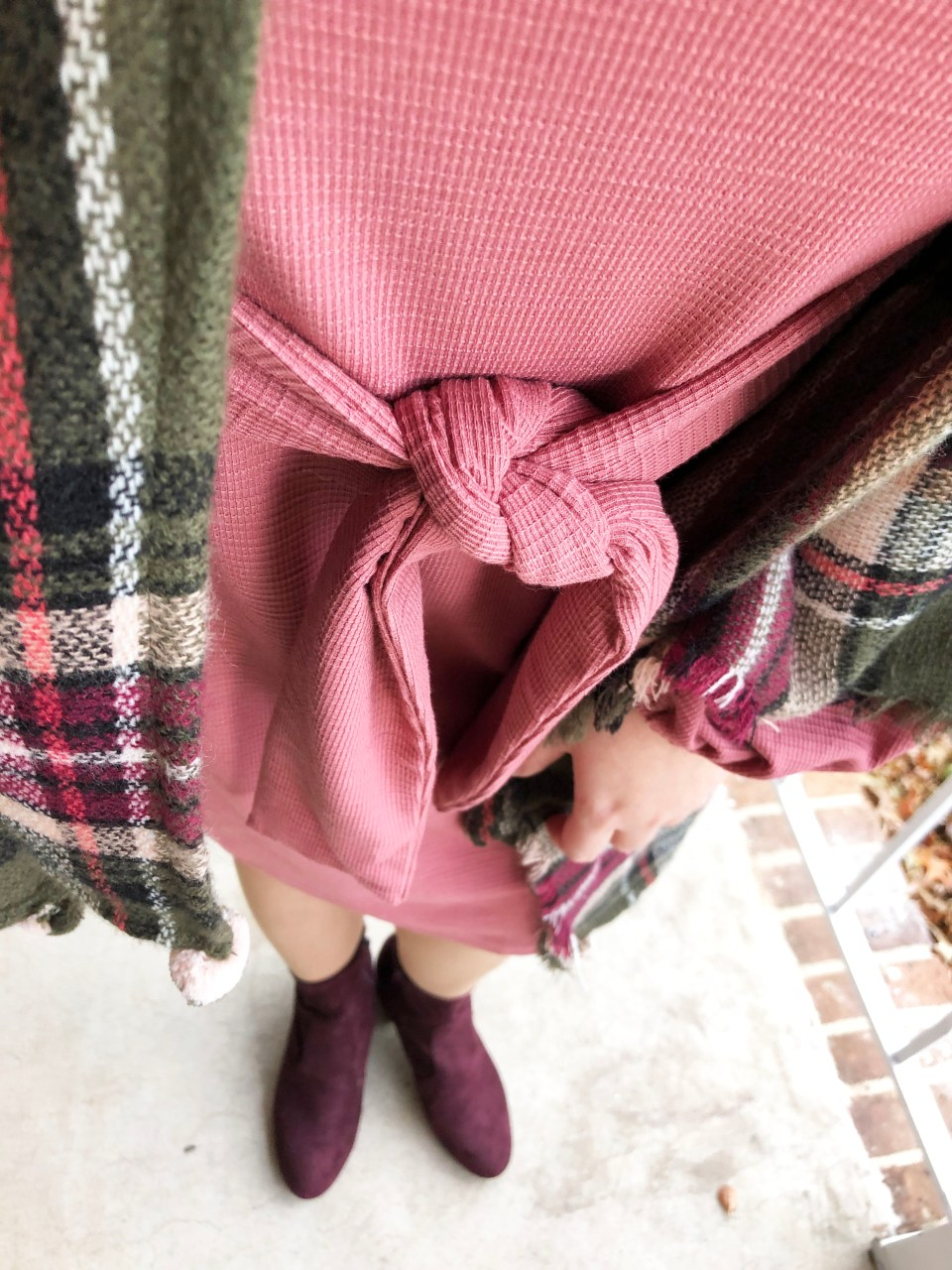 Pink Tie Waist Dress + Plaid Ruana 21
