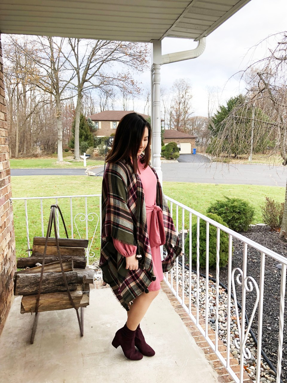 Pink Tie Waist Dress + Plaid Ruana 5