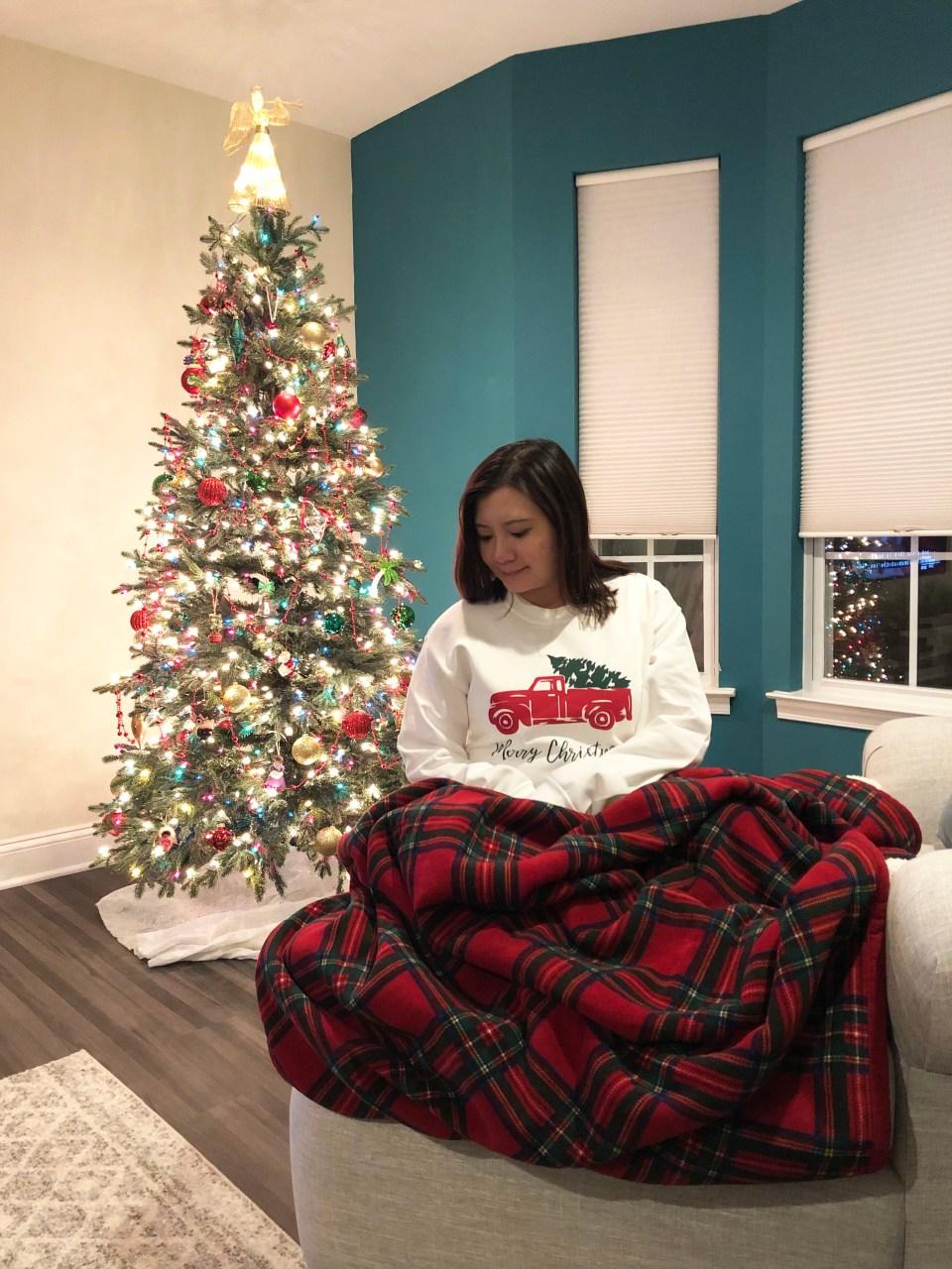Christmas Tree Truck Sweatshirt + Plaid Sherpa Blanket 1