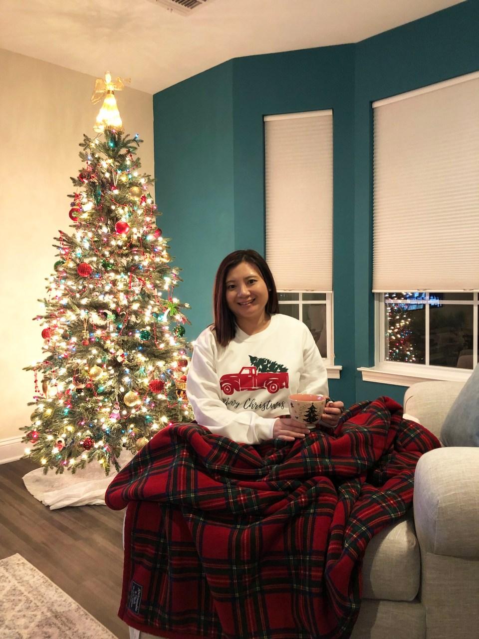 Christmas Tree Truck Sweatshirt + Plaid Sherpa Blanket 2