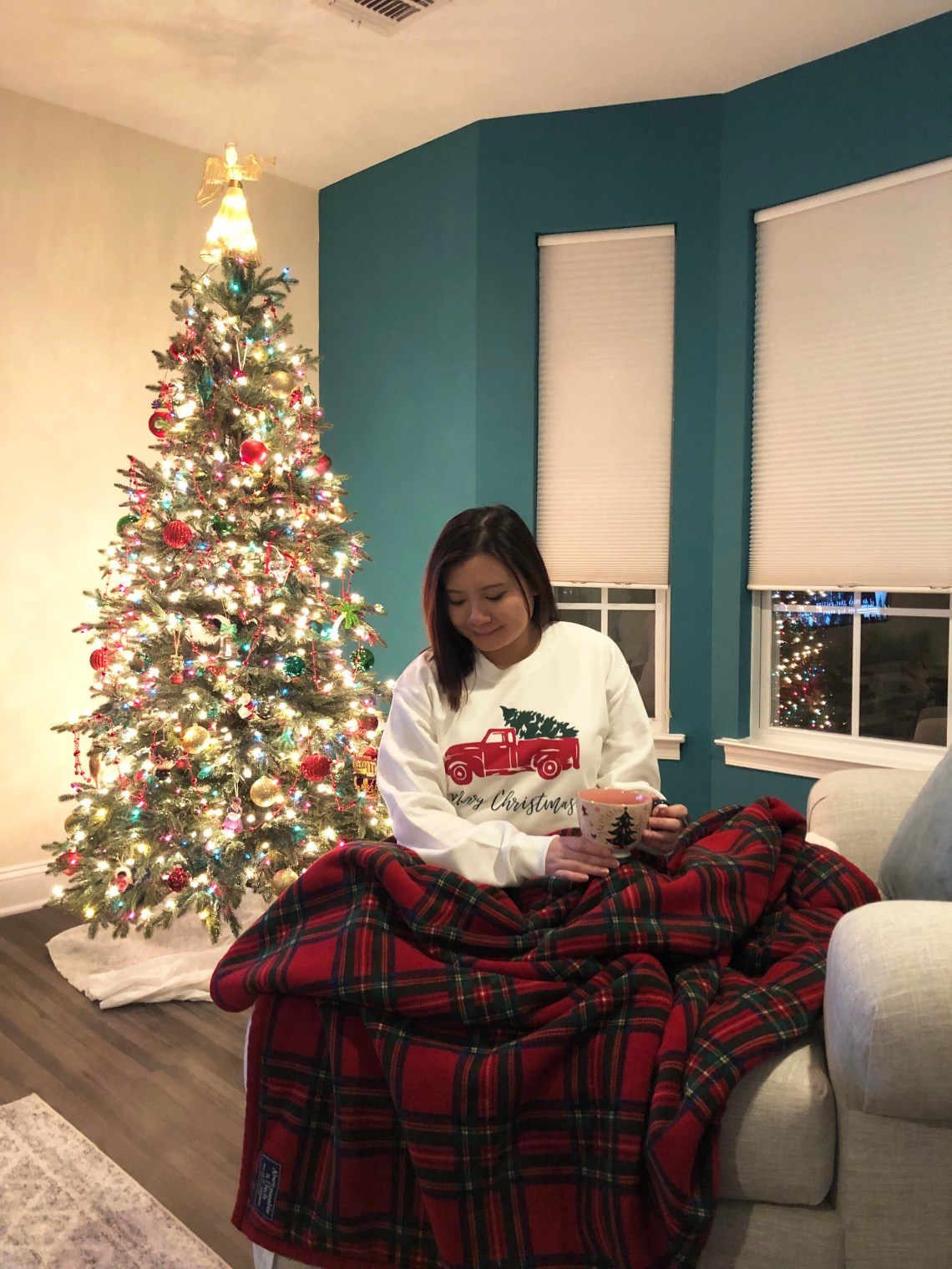 Christmas Tree Truck Sweatshirt + Plaid Sherpa Blanket