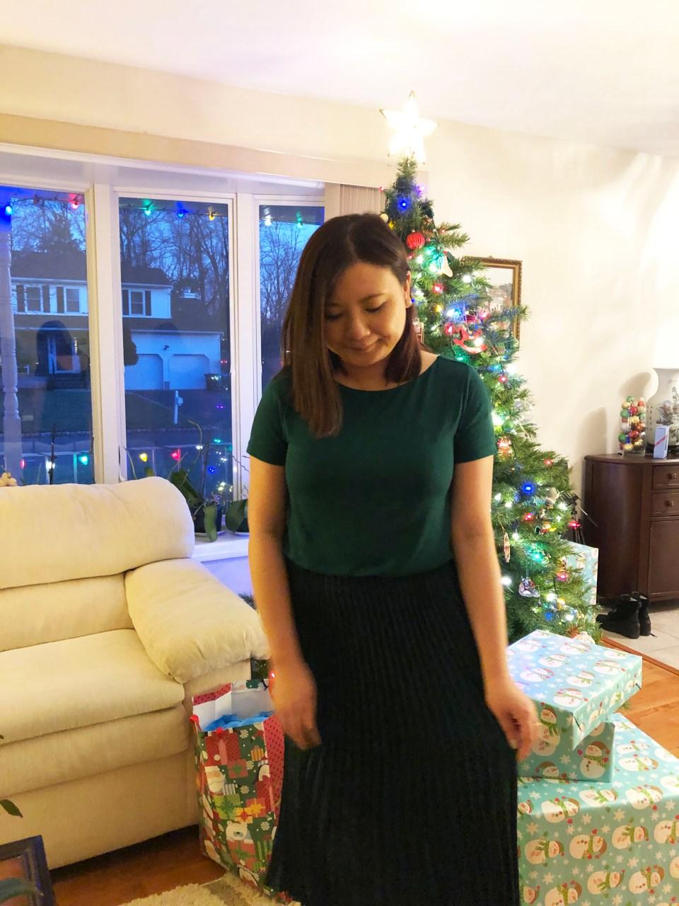 Emerald Green Pleated Midi Dress 10