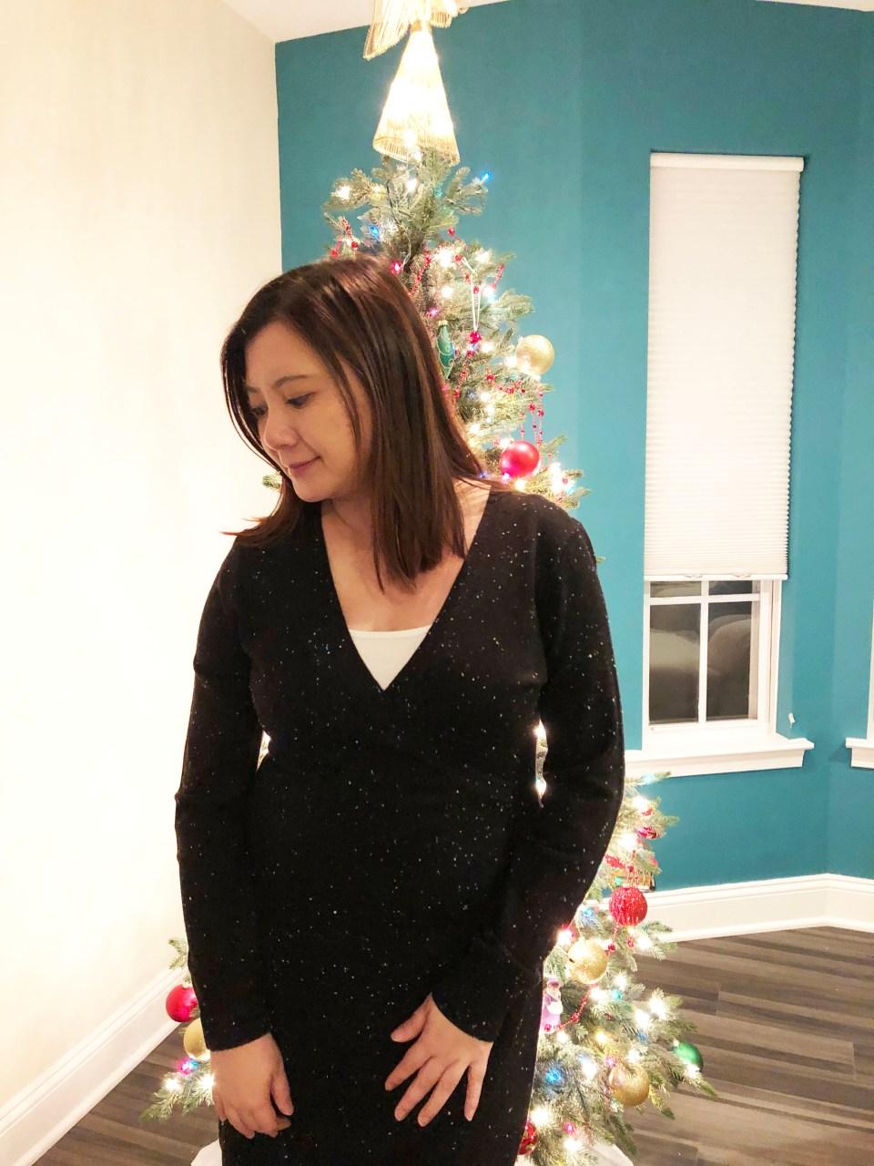 Flecked Wrap Sweater Dress 12
