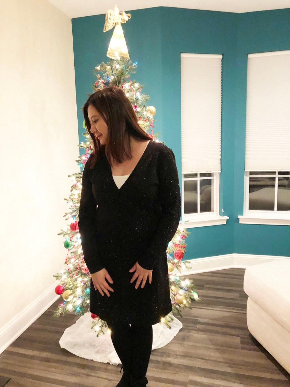 Flecked Wrap Sweater Dress 16