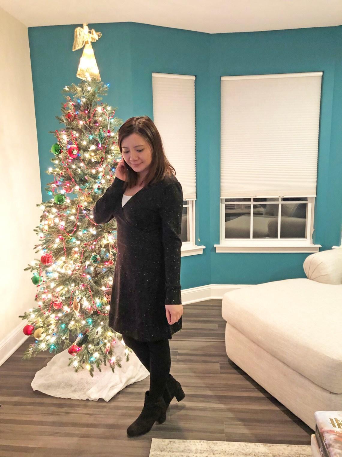 Flecked Wrap Sweater Dress