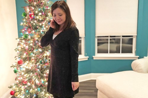 Flecked Wrap Sweater Dress