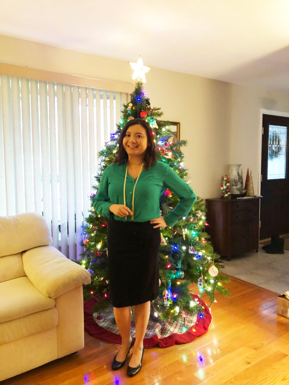 Green Utility Blouse + Ribbed Skirt 11