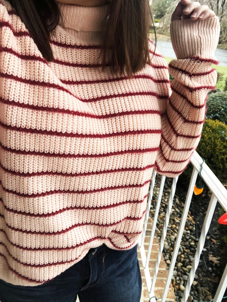 Pink & Red Striped Funnel Neck 15