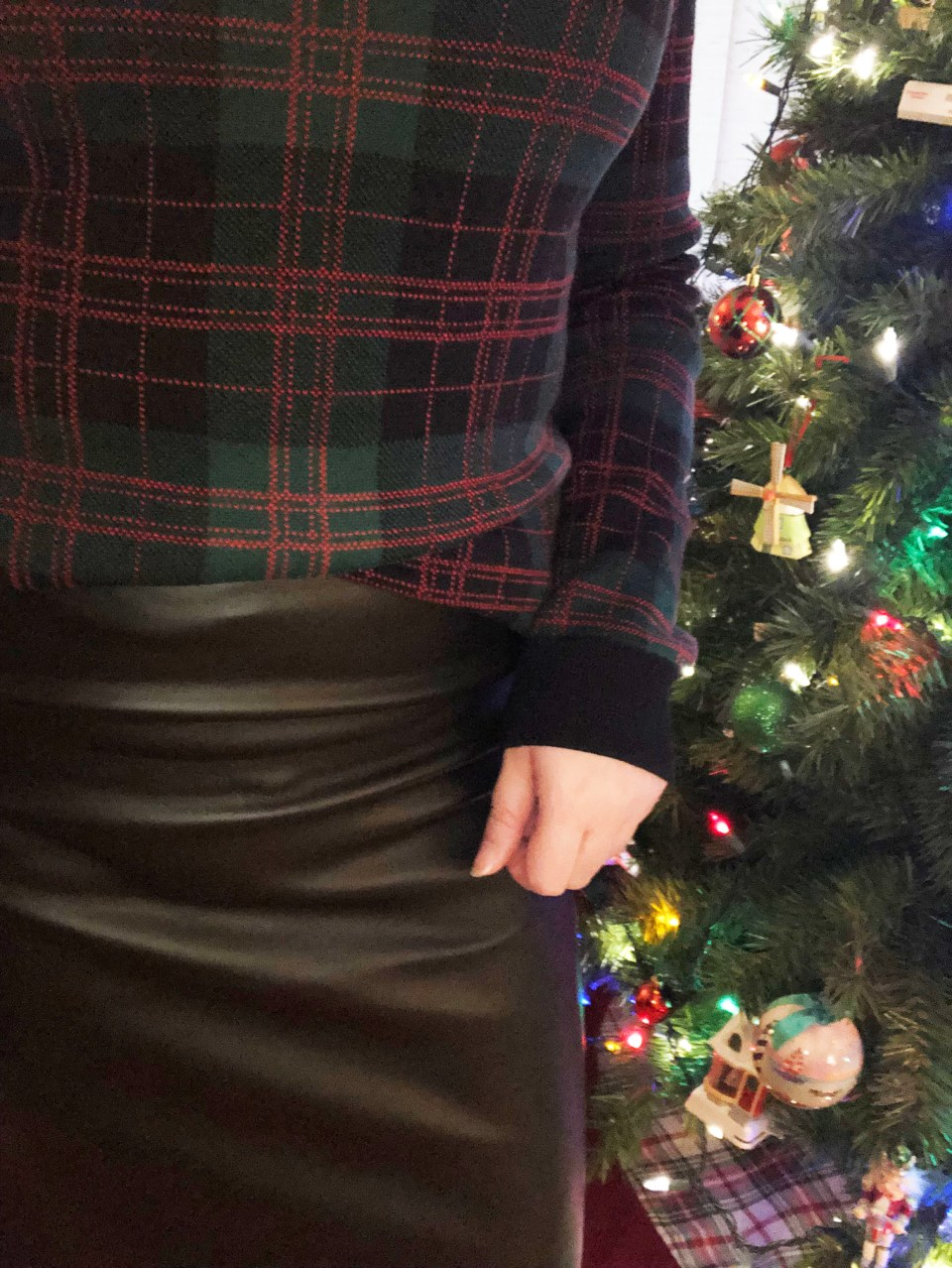 Plaid Sweater + Faux Leather Skirt 12