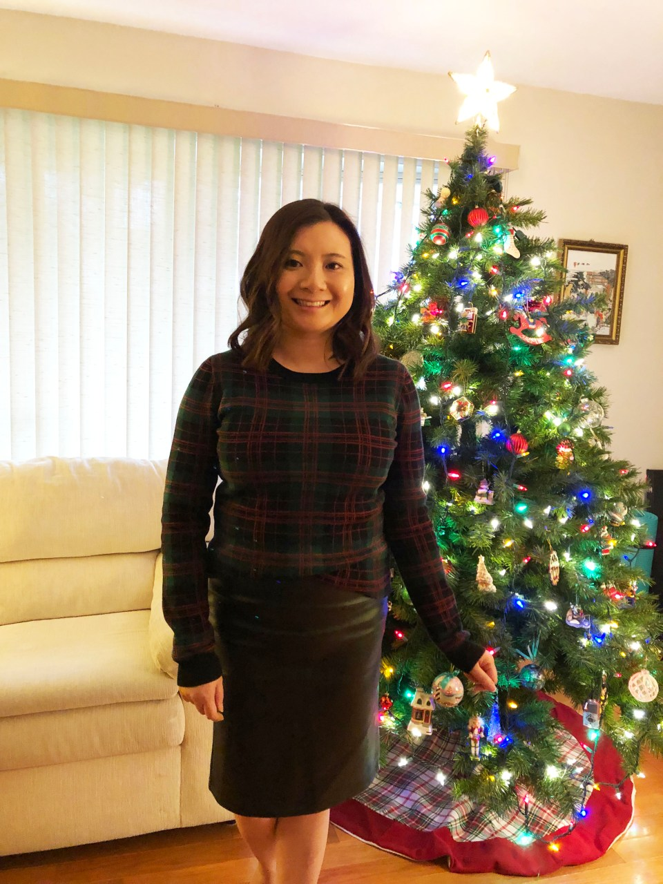 Plaid Sweater + Faux Leather Skirt 6