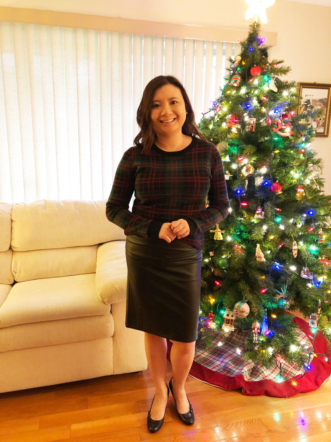 Plaid Sweater + Faux Leather Skirt