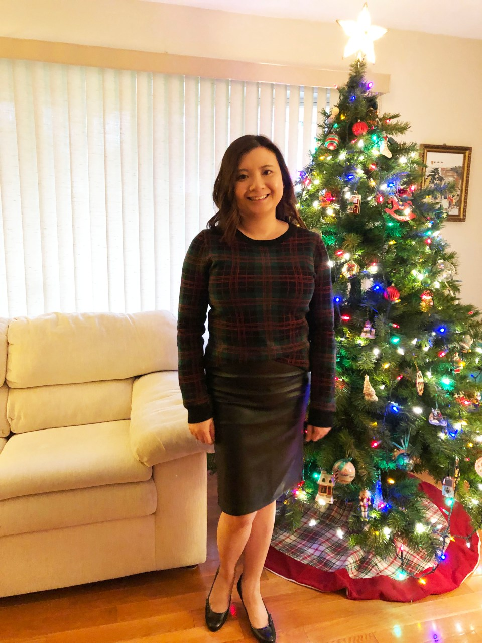 Plaid Sweater + Faux Leather Skirt 8