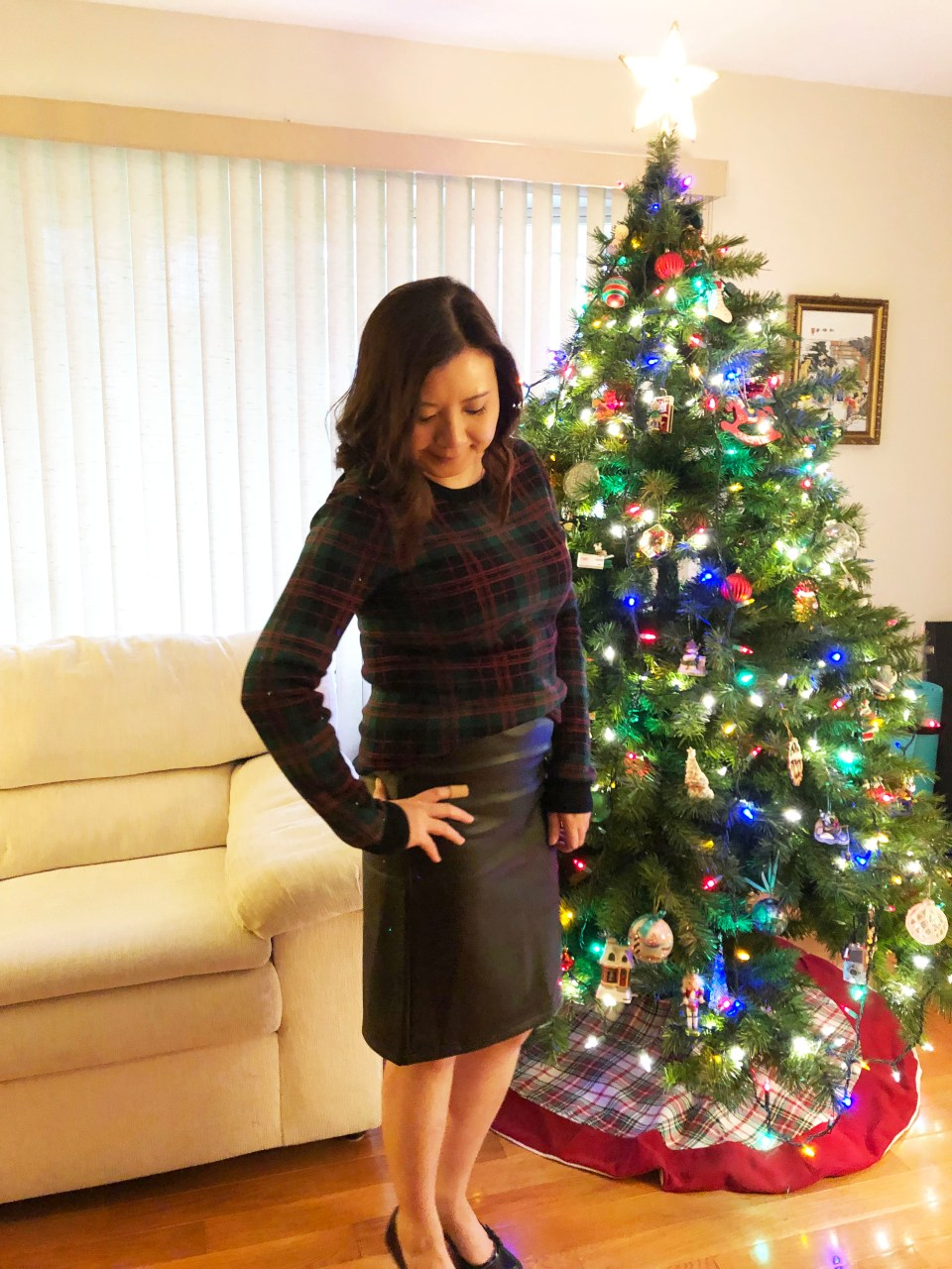 Plaid Sweater + Faux Leather Skirt 9
