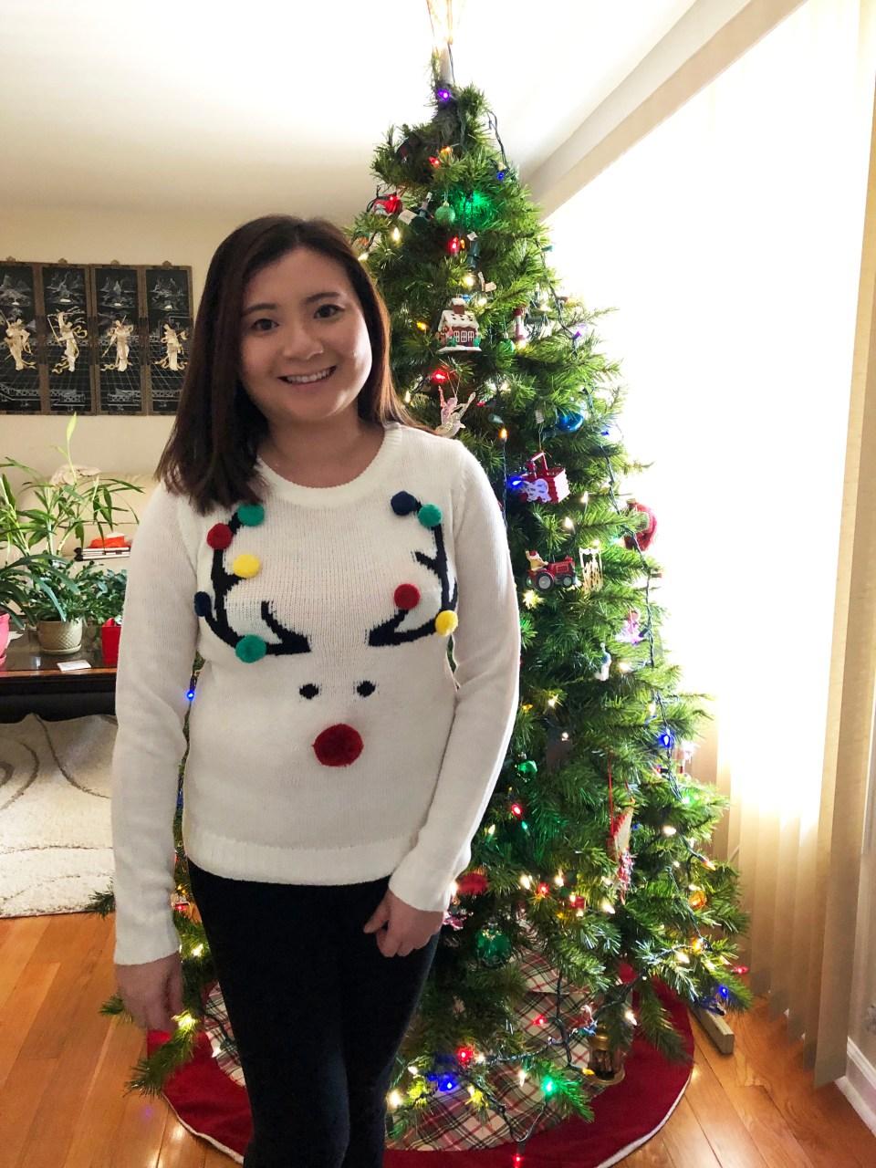 Pompom Reindeer Sweater