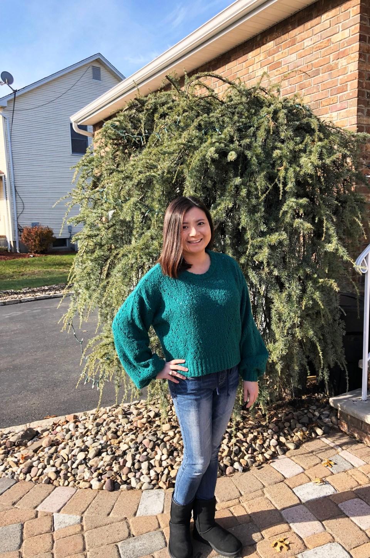 Teal Argyle Sweater 1