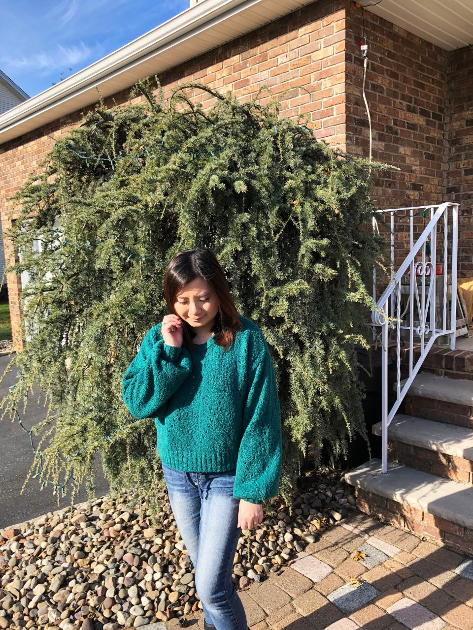 Teal Argyle Sweater 4