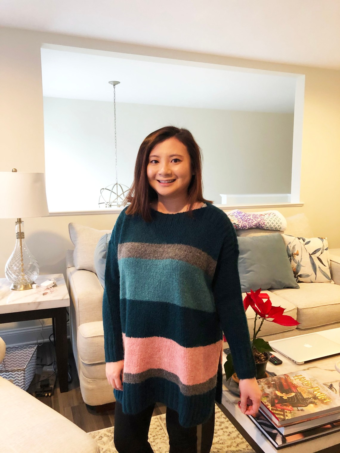 Colorblock Poncho Sweater