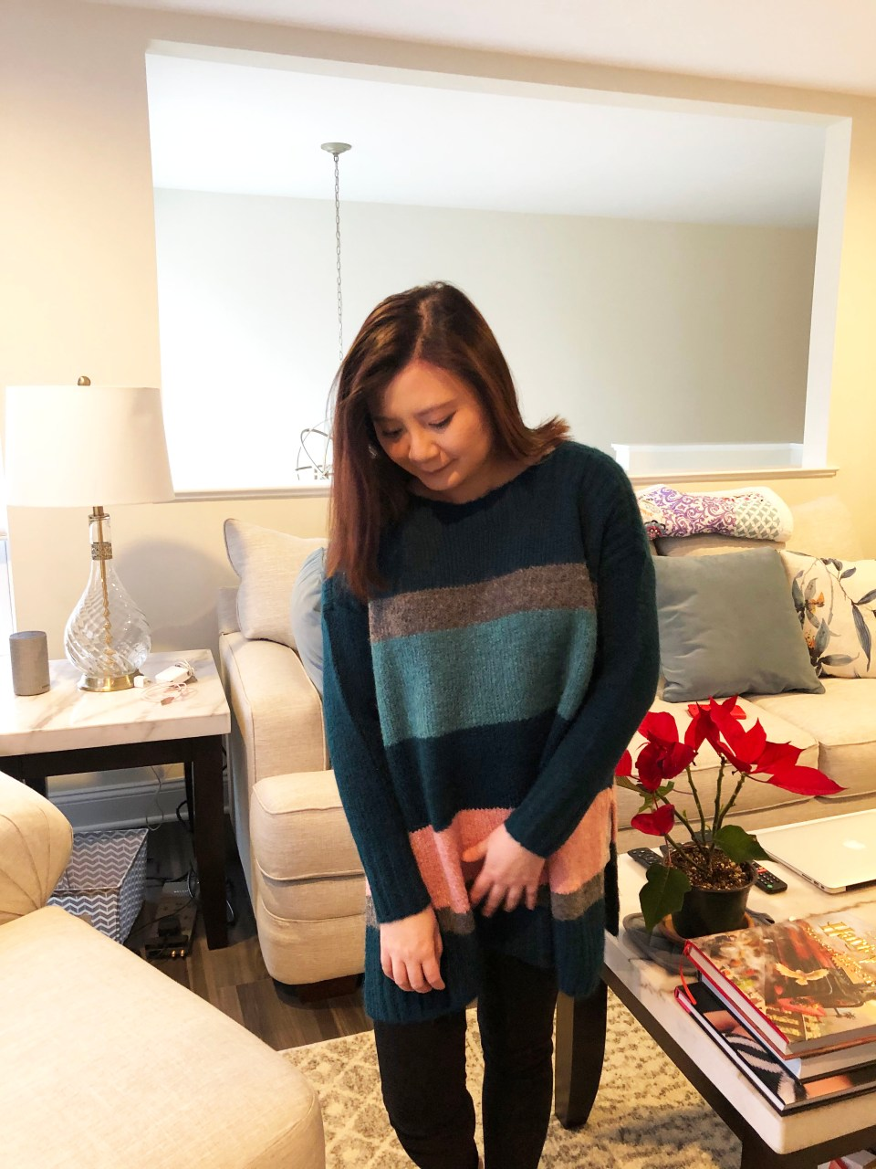 Colorblock Poncho Sweater 2