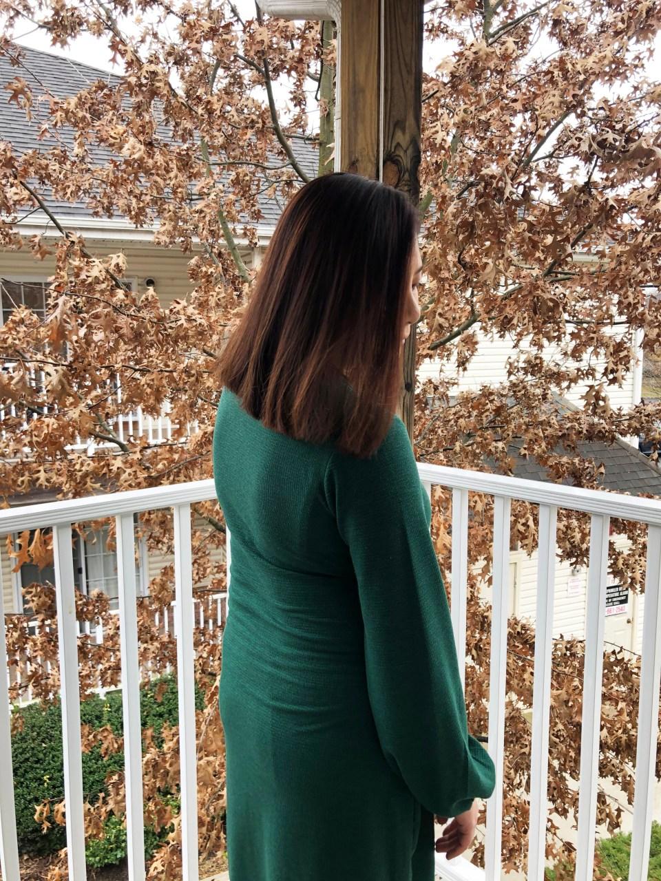 Green Tie Waist Dress 10