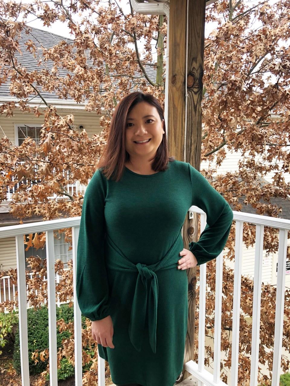 Green Tie Waist Dress 12