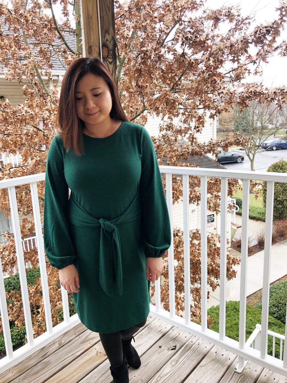 Green Tie Waist Dress 16