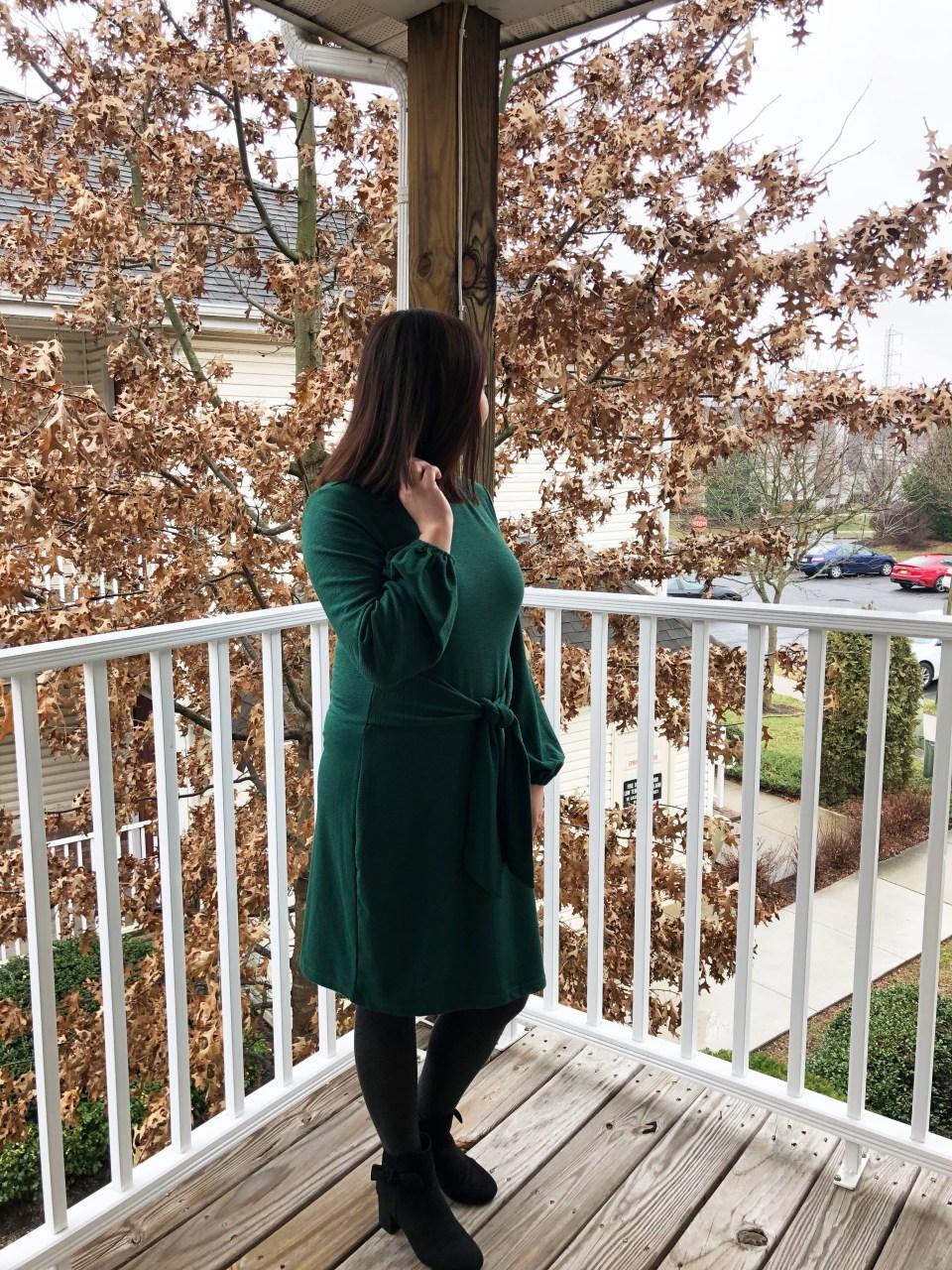 Green Tie Waist Dress 5