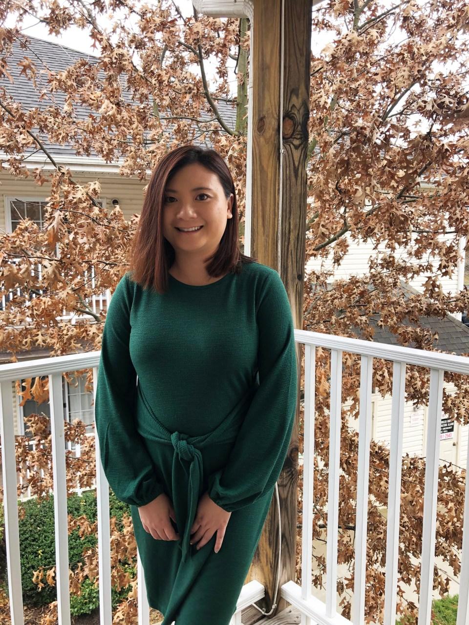 Green Tie Waist Dress 8