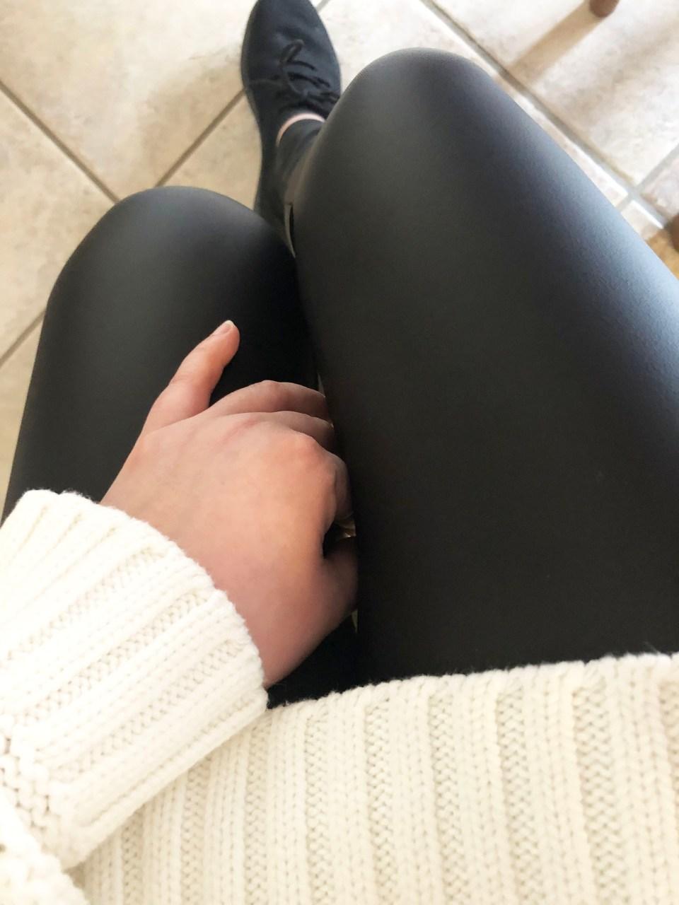 Loopstripe Sweater + Faux Leather Leggings 13