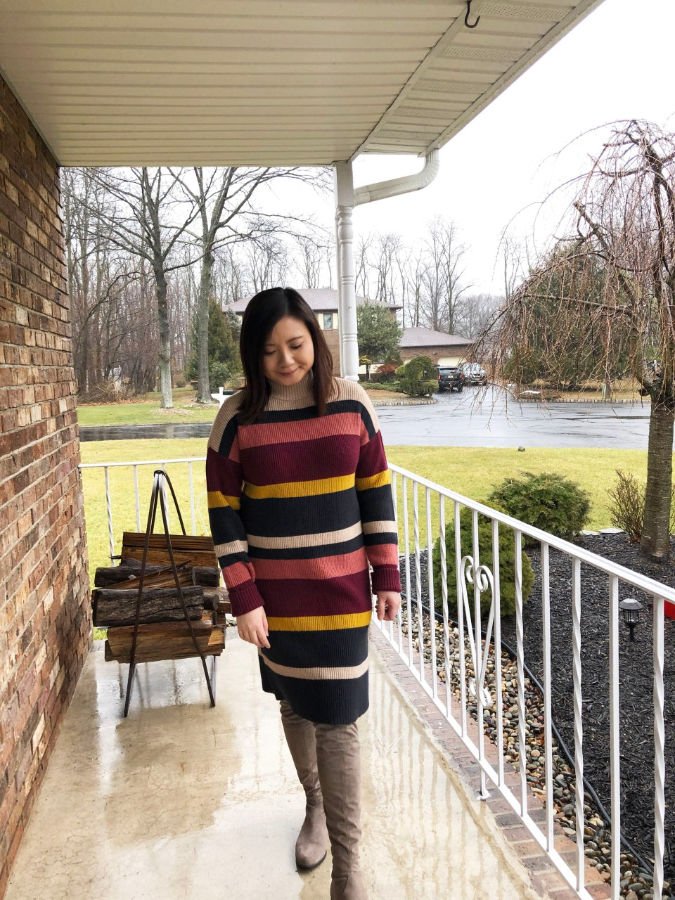 Striped Mockneck Sweater Dress 13