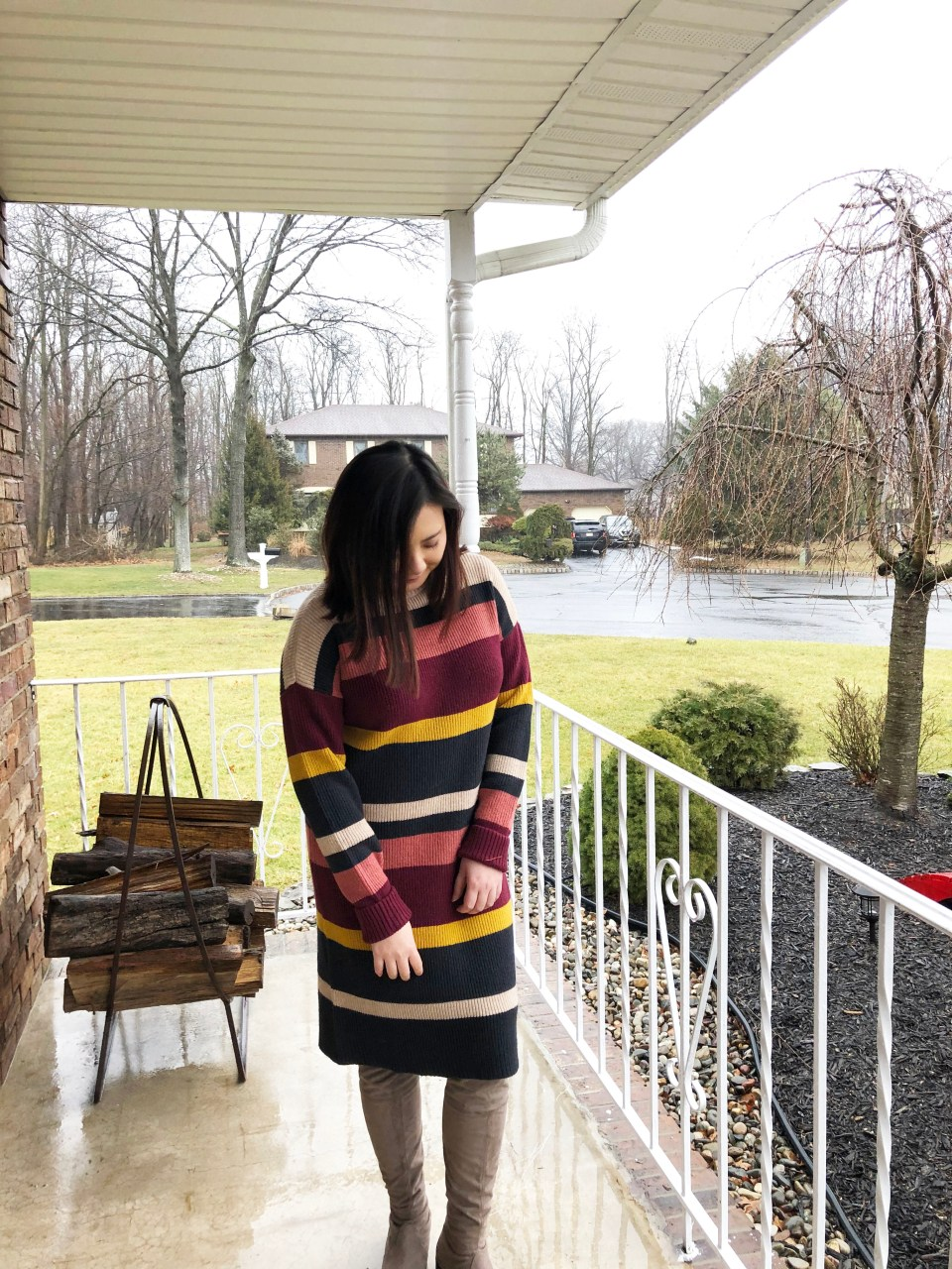 Striped Mockneck Sweater Dress 7