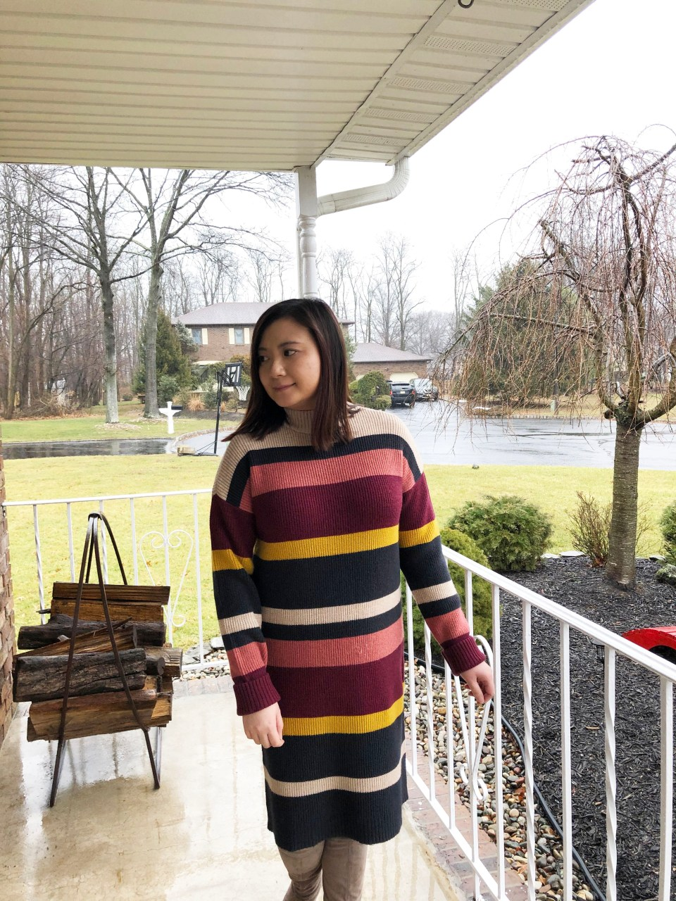 Striped Mockneck Sweater Dress 8