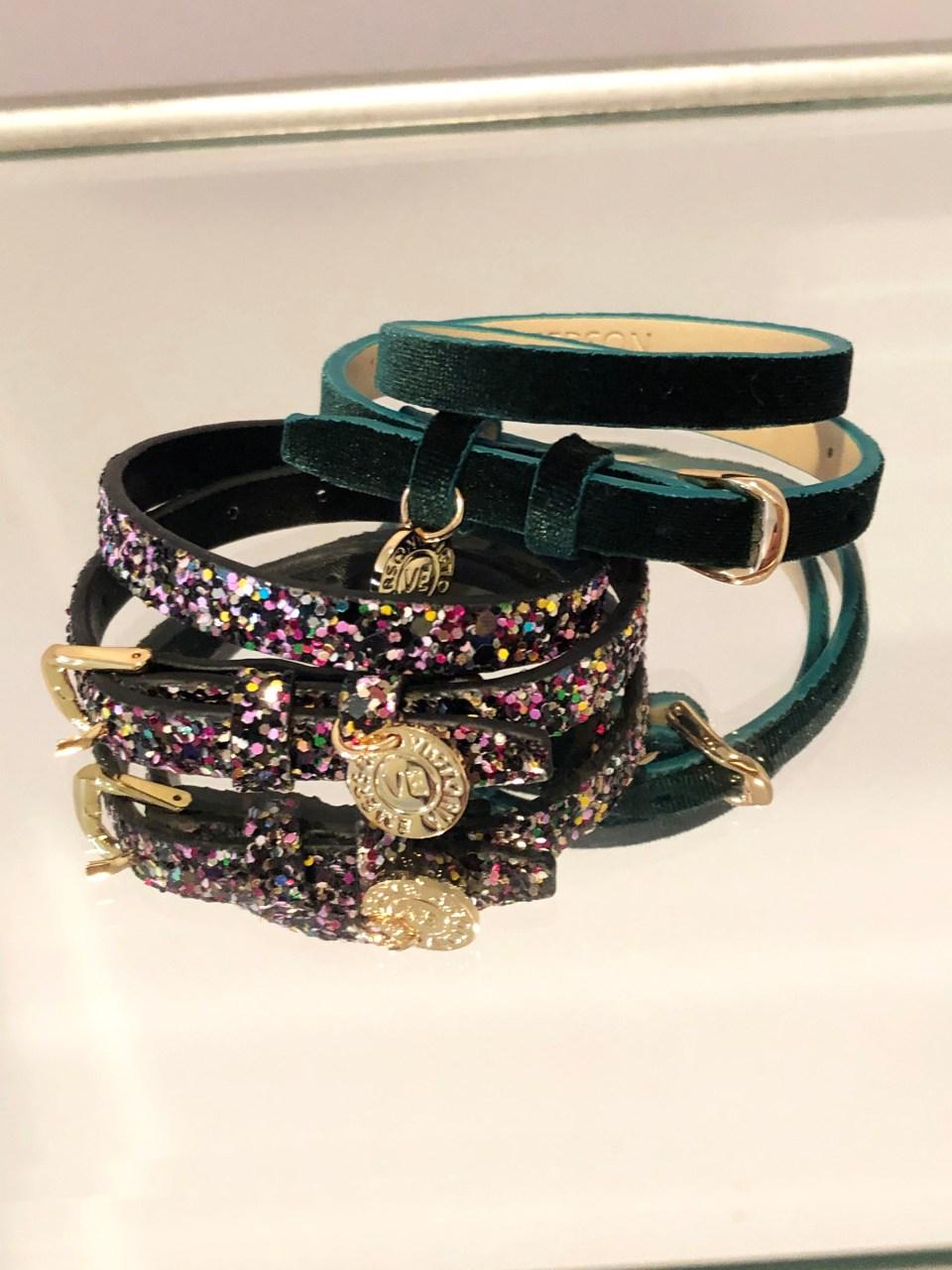 Velvet + Sequins Double Wrap Bracelets 1