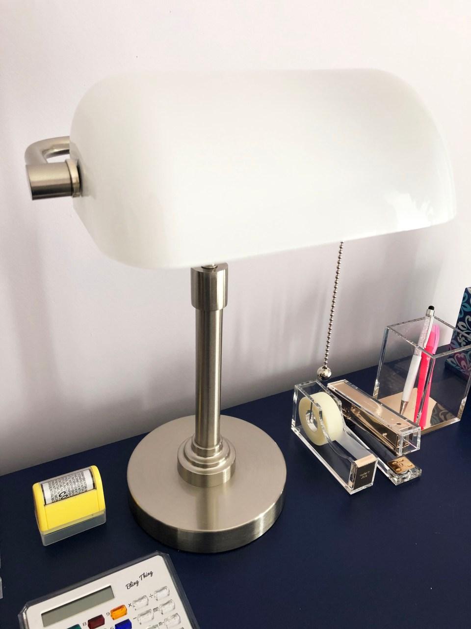 White Banker's Lamp