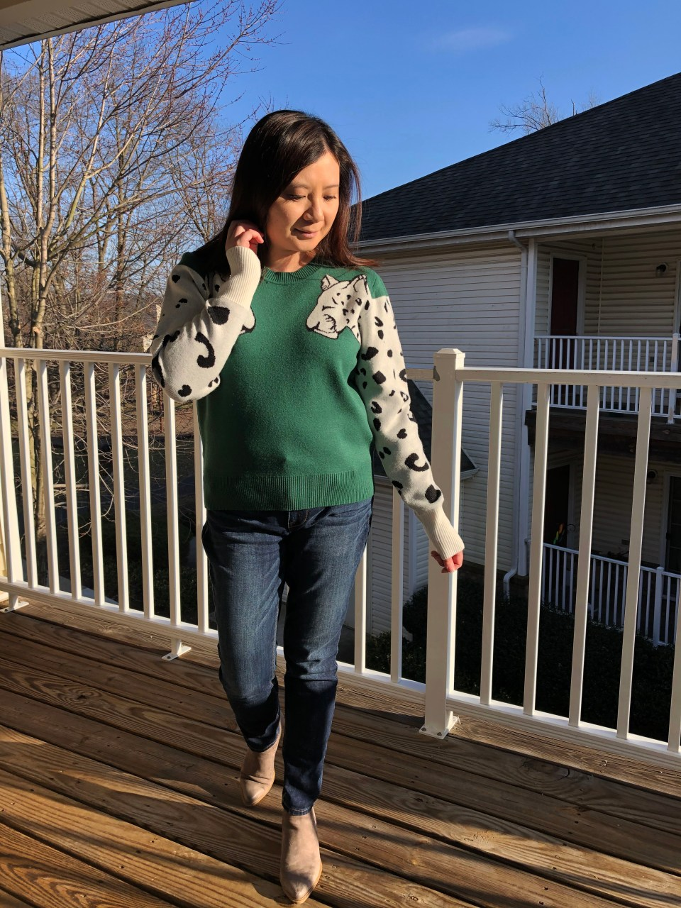 Leopard Sleeve Sweater 2