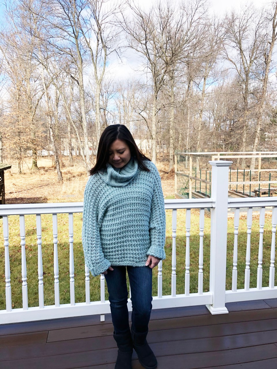 Oversized Knit Cowl Neck Sweater 1