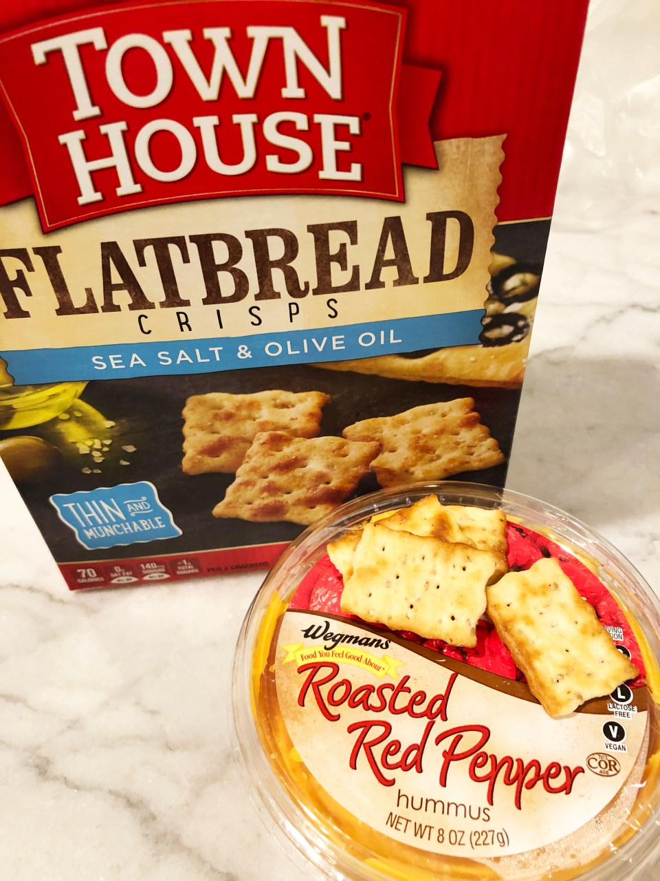 Townhouse Flatbread Crisps + Roasted Red Pepper Hummus