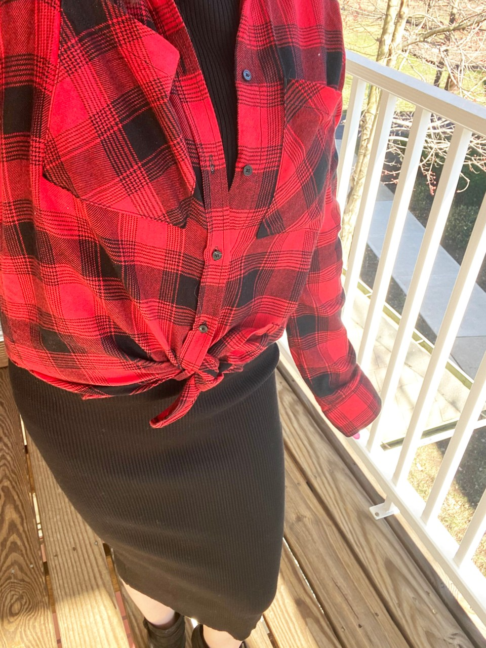 Turtleneck Ribbed Dress + Plaid Shirt 13