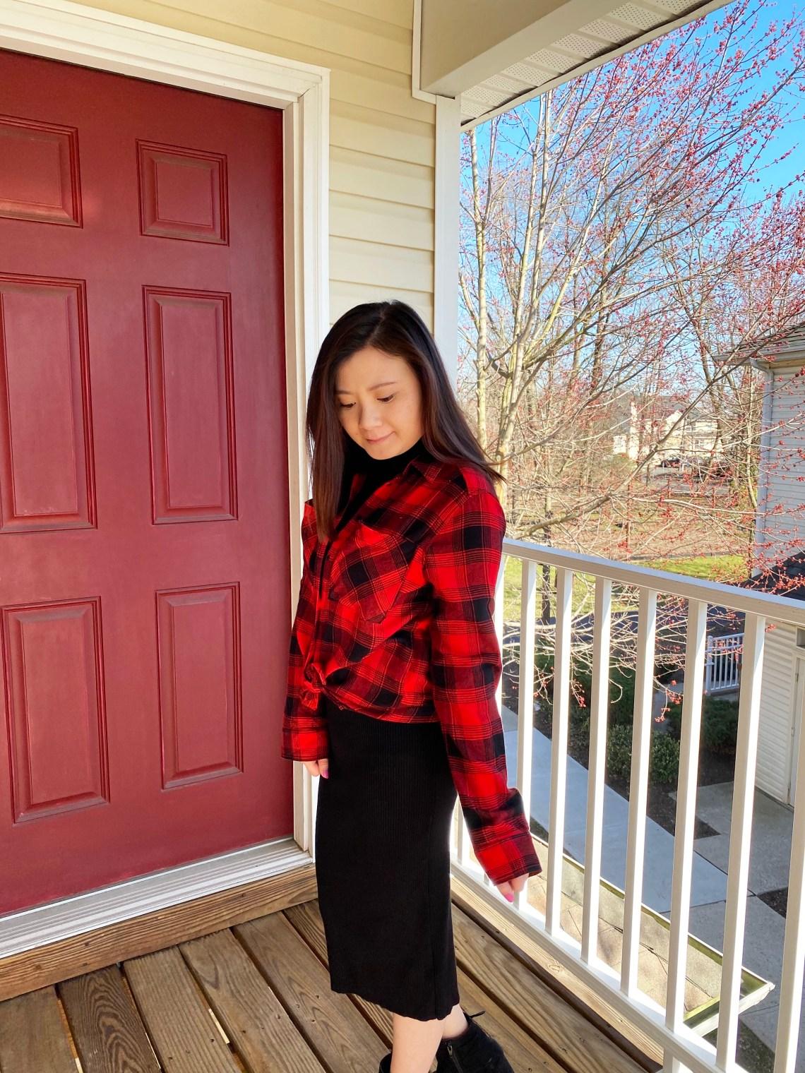 Turtleneck Ribbed Dress + Plaid Shirt