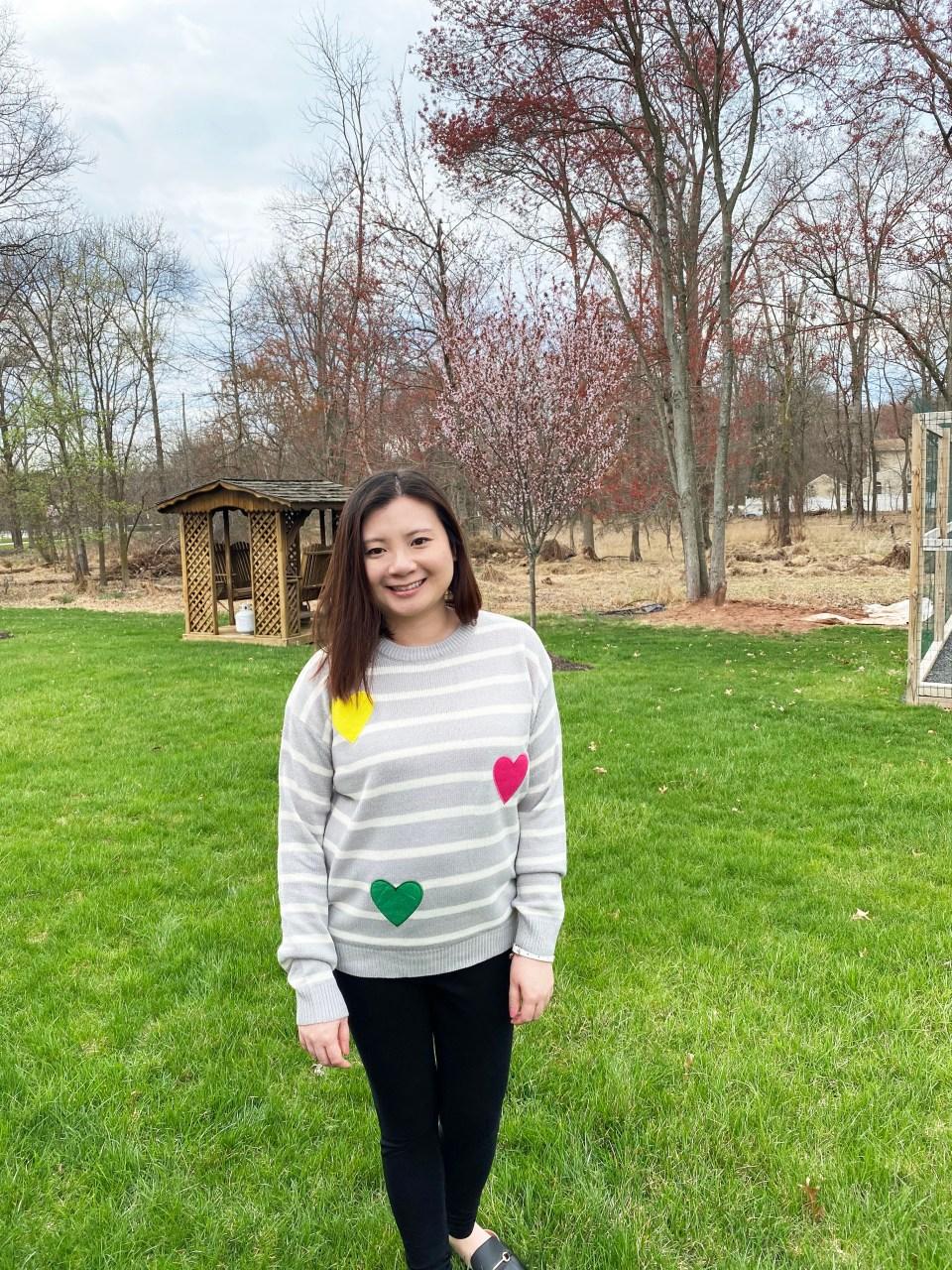 Striped Heart Applique Sweater 14