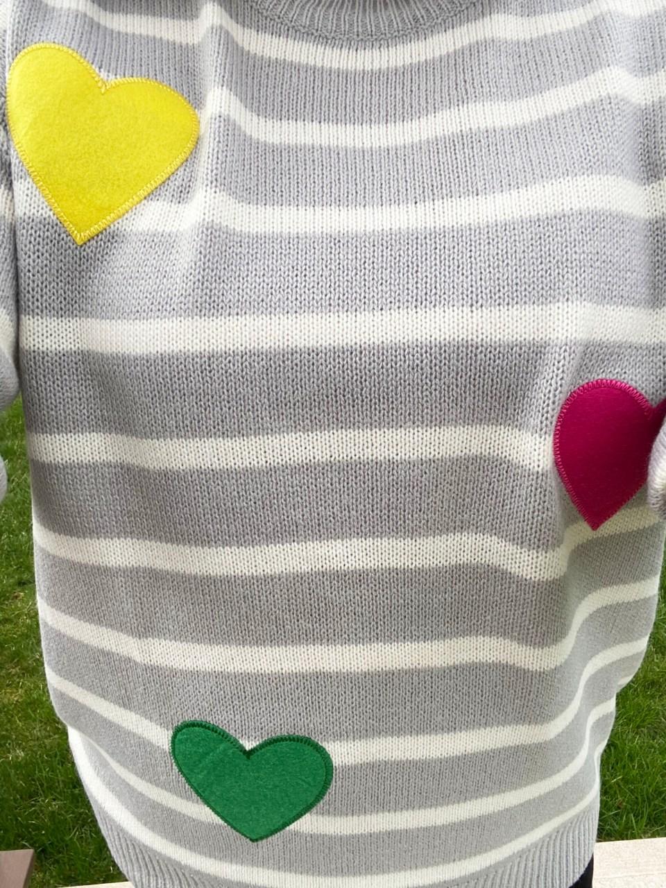 Striped Heart Applique Sweater 16