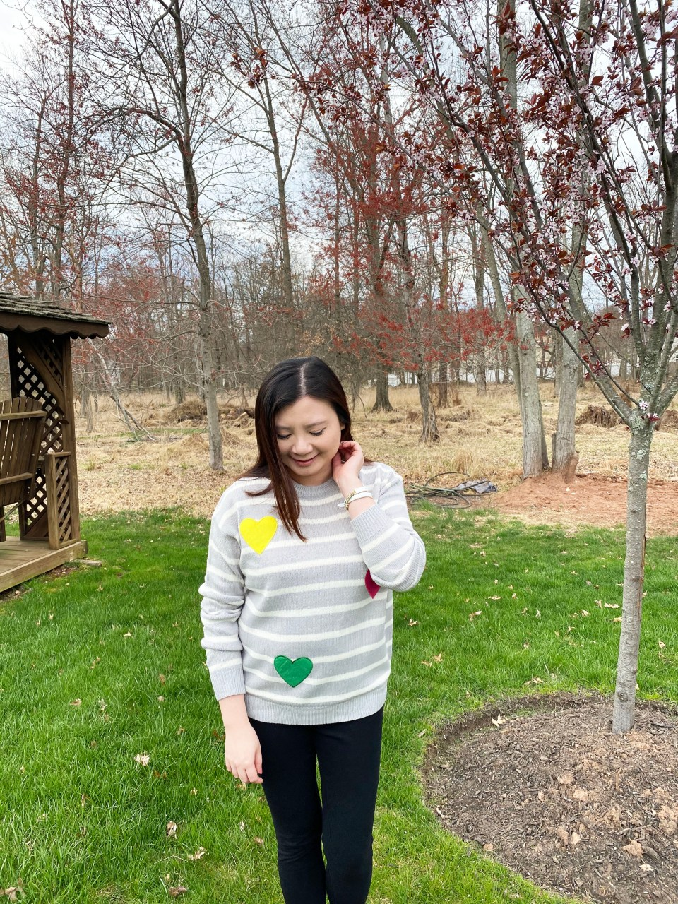 Striped Heart Applique Sweater 5