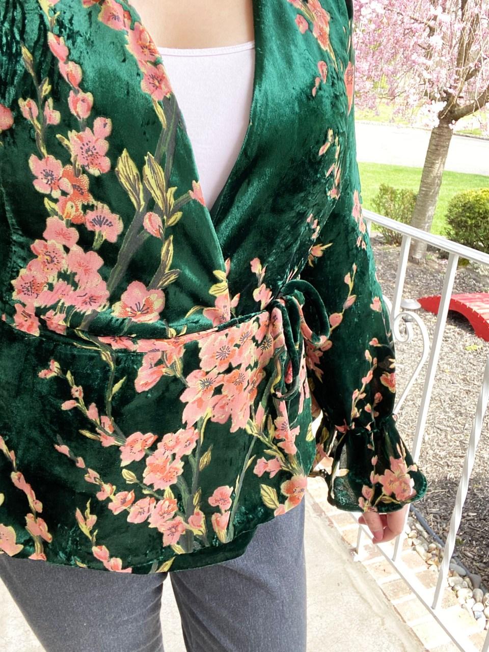Velvet Burnout Floral Wrap Top 9