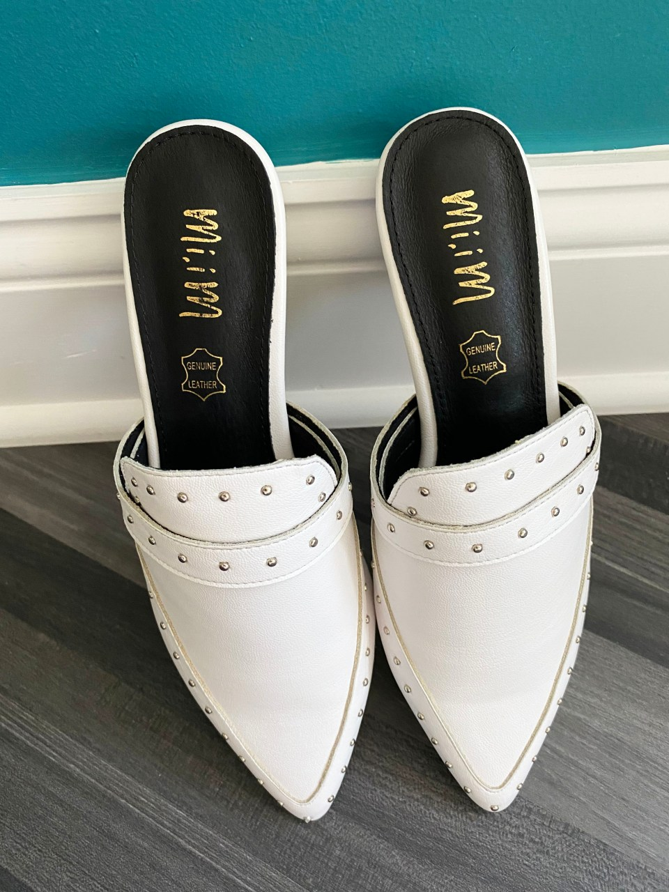 White Studded Mules 1