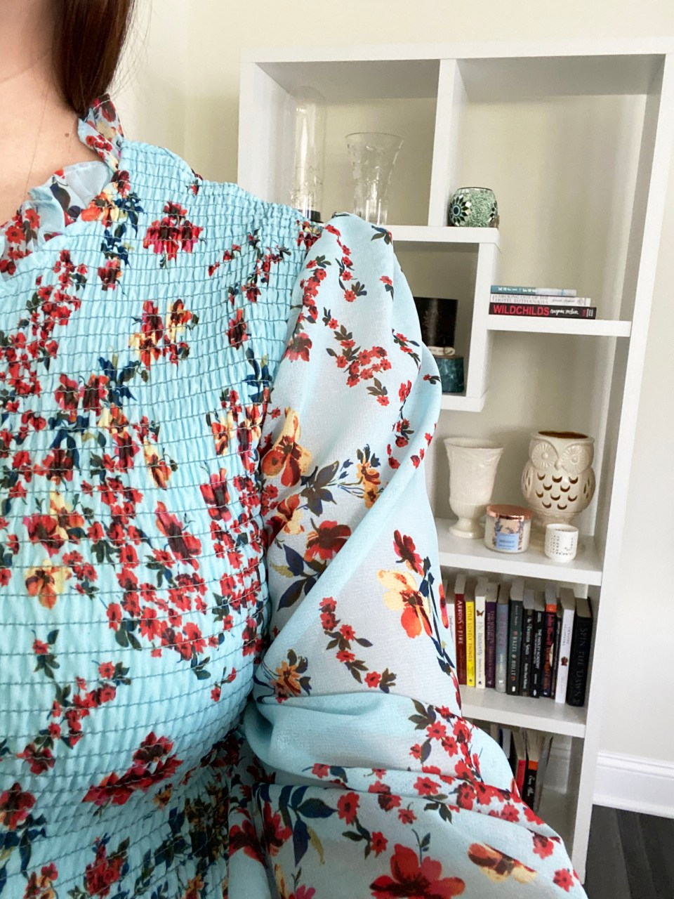 Sheer Sleeve Floral Smocked Top 14
