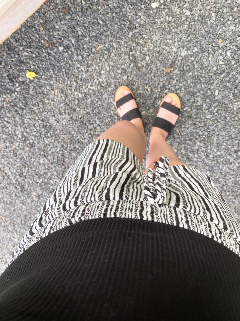 Black Bodysuit & Striped Shorts 12