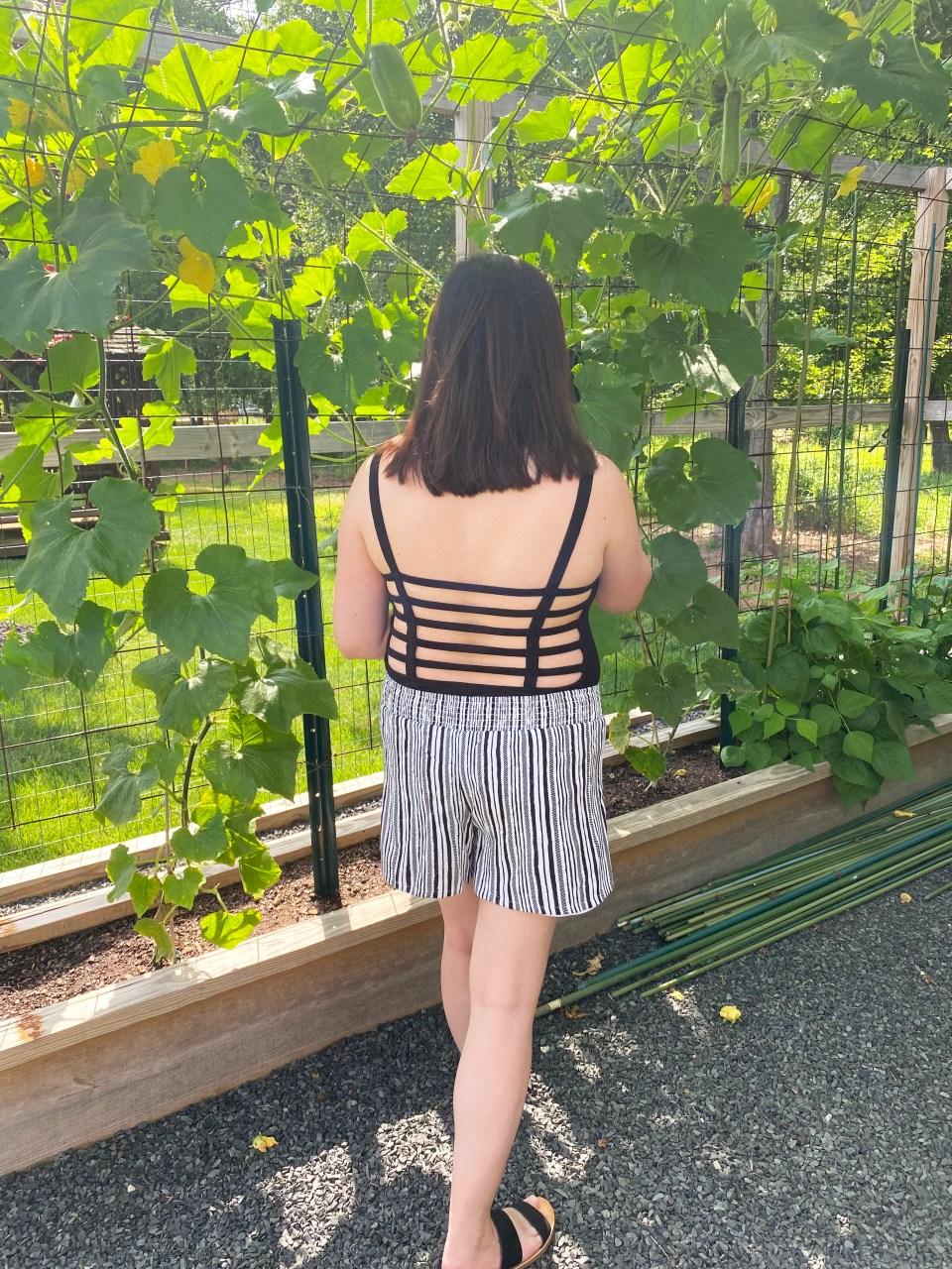 Black Bodysuit & Striped Shorts 2