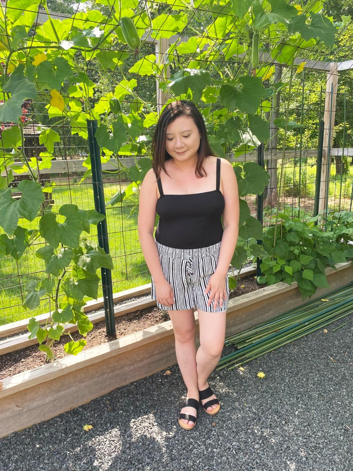 Black Bodysuit & Striped Shorts